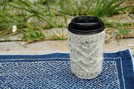 Hand Knit Eco Friendly Cup Cozy - Cream Tweed Hearts - Ready To Ship
