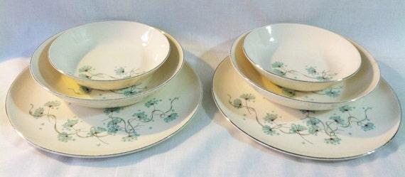 Vintage Taylor Smith & Taylor 'Blue Lace' aquamarine dandelion bloom plate and bowl set 1950s