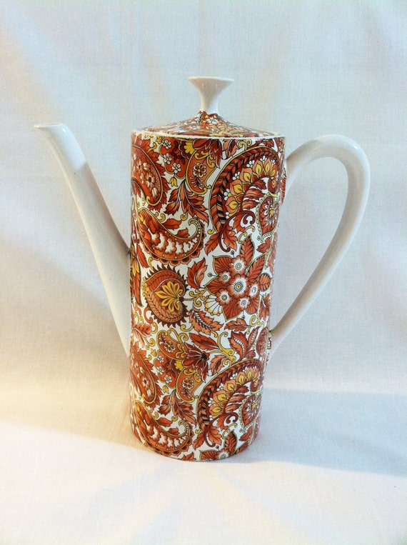 Vintage Chamart coffee pot with orange paisley pattern