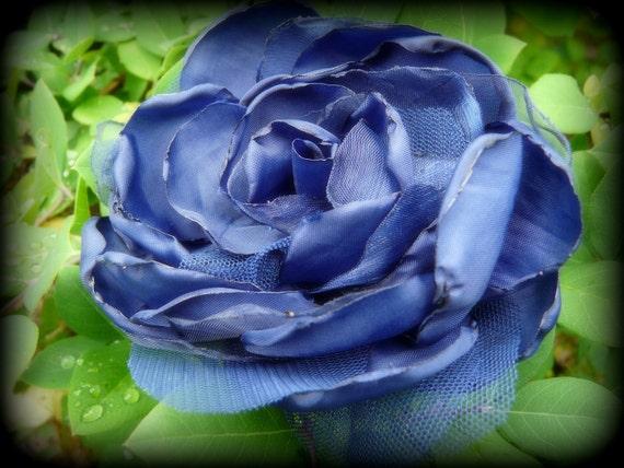 Flower hair clip, Royal blue peony, Bridal accessory, Blue Bridal Fascinator,Wedding Headpiece