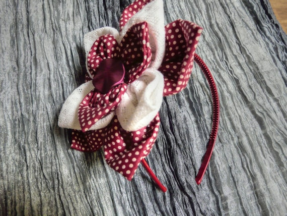 Red Flower Headband, Burgundy Hair Flower, Maroon Headband, Red Polkadot Hair Accessory, Red White Hair Flower