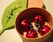 4 Miniture Lucky Ladybirds / Ladybugs