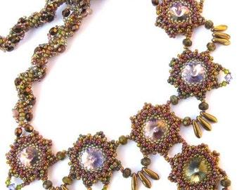 Meadow Dreamsbeadwoven necklace in purple Swarovsi rivoli and seed beads