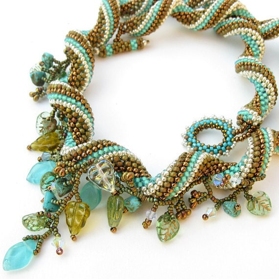 Beaded spiral necklace in Turquoise, White, Silver and Summer Green