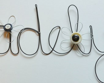 Personalized Custom Hand Made Decorative Wire Words - black and white button flowers