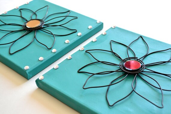 Set of 2 Decorative Wire Flowers on Larger Teal Canvas Mirrored Wire Flowers Clear Rhinestones Unique Gorgeous Handcrafted