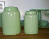 reduced..jadeite jadite coffee and tea canisters