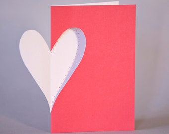 Hand-cut valentine with dots on inside