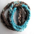 FREE SHIPPING Teal and Brown Wrap Bracelet or Braided Necklace Hand Dyed Wrap Bracelet Fabric Bracelet