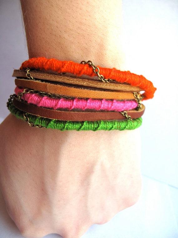 5 Dollar Macrame Bracelet Thread Wrapped Bracelet Leather and Chain Bracelet Perfect Gift Folk Jewelry