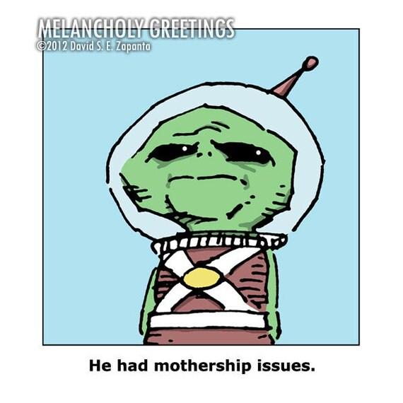Melancholy Greetings - Mothership funny greeting card (blank inside)