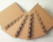 Daisy Edged Greeting Cards - Note Card Set of 5 - Paper Laced Kraft - Ready to Decorate - A2 Size