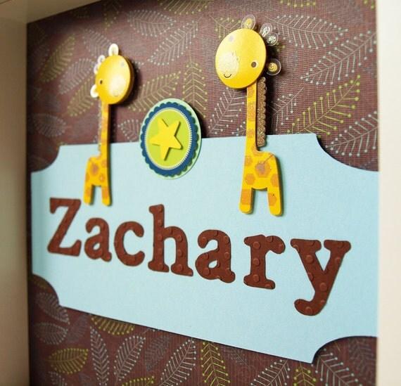 Personalized Children Decor - Boy's Room Decor - 3D Paper Art Safari Giraffe - Framed Child Art - Nursery Decor - Kid's Art - Shadow Box Art