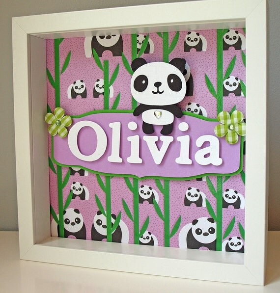 Items similar to cute purple and green panda art - Stuff for girls rooms ...