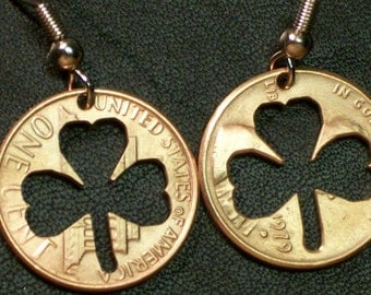 Shamrock Penny Earrings   Hand Made  Great Gifts