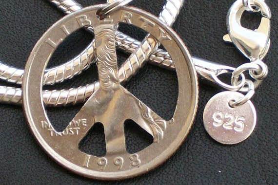 PeAce Sign QuArter Necklace Very Rare 20inch Necklace 925SS What a GrEaT Customized GiFt