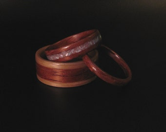 Handcrafted Wedding Set, Oak Wooden Ring with Bubinga and Mother of Pearl Inlay