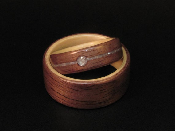 Handcrafted Wedding Set Walnut Bentwood Ring  with Maple Interior and Mother of Pearl Inlay
