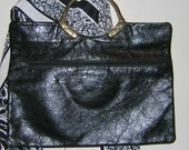 RESERVED Vintage Black Leather Clutch by CJW