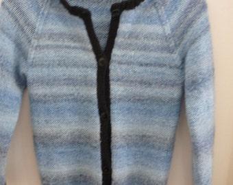Beautiful Blue Handknit Woman's Cardigan Sweater