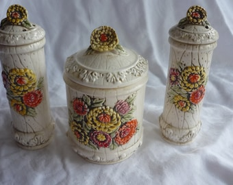 Beautiful Lefton Summer Mums Salt and Pepper Shaker and Canister