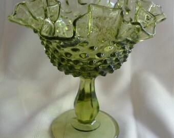 Fenton Hobnail Avocado Ruffled Compote or Vase