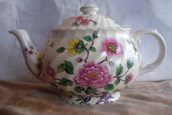 James Kent Chinese Rose Old Foley Tea Pot and Lid, Cottage, Shabby Chic
