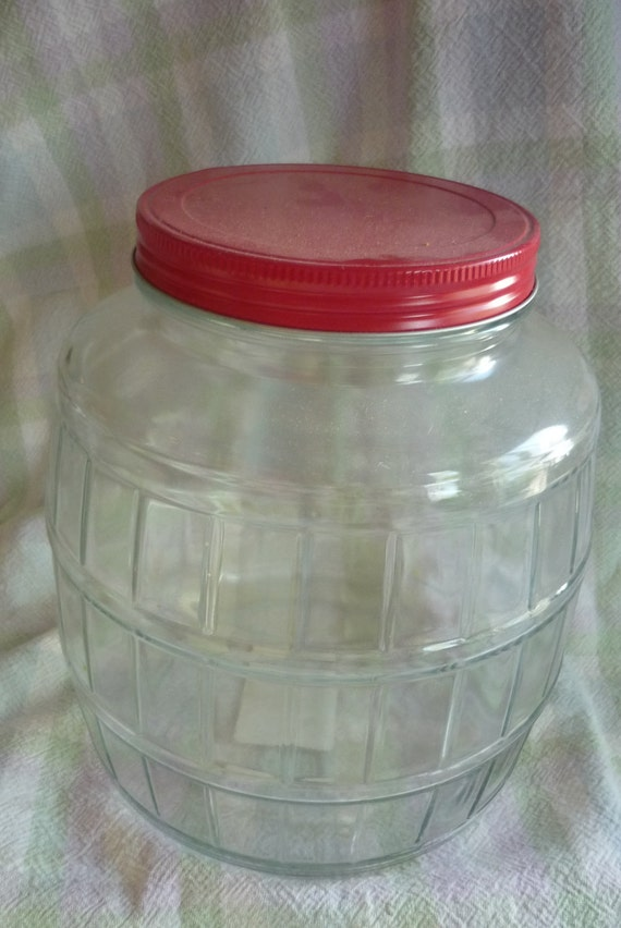 Very Large Glass Anchor Hocking Barrel Canister with Red Lid