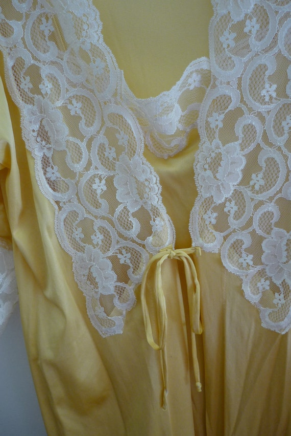Petra Fashions Canary Yellow and White Lace Gown and Robe