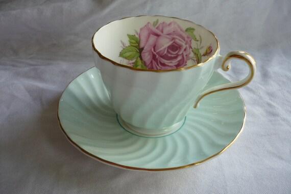 Stunning Aynsley Blue Swirl Tea Cup and Saucer, Treasury Item