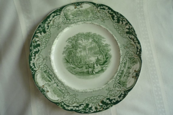 Rare Gorgeous Green Transferware Dinner Plate, Virginia by Meakin