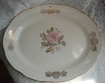 Vintage Wedding Platter Homer Laughlin Liberty Rose Pink Rose Platter Shabby Cottage Garden Chic Ivory  Floral Vintage Bridal Shower