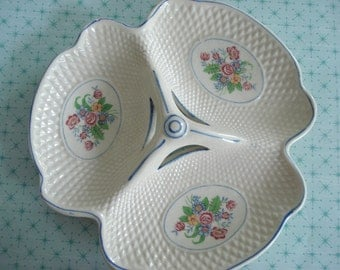 Vintage Candy Dish Relish Tray Japan Divided Floral Motif Blue Edge 1950s Shabby Chic Vintage Wedding