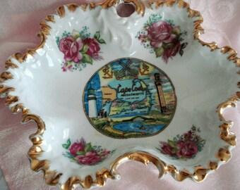 Vintage Cape Cod Candy Dish Rose Shabby Cottage Chic Cape Cod Souvenir