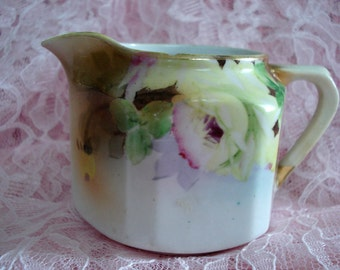 Vintage Nippon Creamer Pitcher Handpainted Floral Shabby Cottage Chic