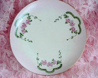 Vintage Dessert Plate J & C Bavaria Pink Handpainted Bread Butter Plate Helen Franke 1900s Shabby Cottage Chic
