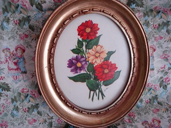 Vintage Oval Framed Floral Print Shabby Chic Cottage Style 1970s