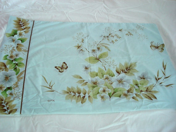 Vintage Blue Floral Butterfly Pillowcase Standard Size