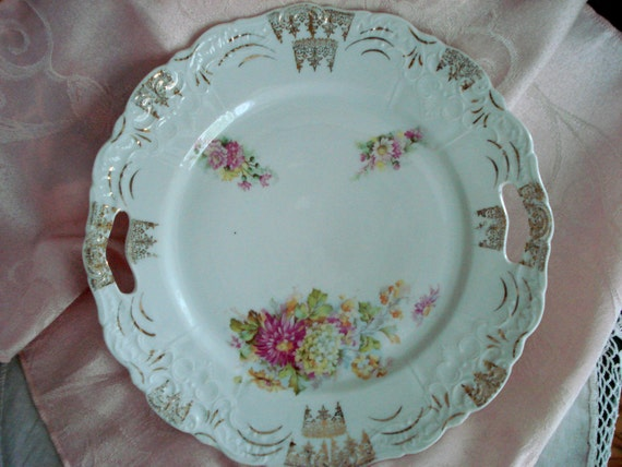 Vintage Shabby Chic Dinner Plate Floral 1940s