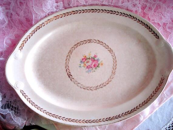 Vintage Platter TST Co. Pink Rose Taylor Smith Taylor Shabby Cottage Chic Oval