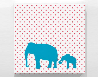 "Organic Elephant Print  - Red Polka-Dot  / Teal - 22"" x 22"""