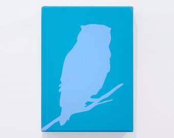 "Organic Owl Print - Teal  / Powder - 8"" x 11"""