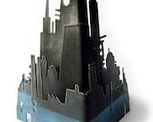 Skyline Set of 3 pieces ... Skyscraper, Romantic, Industrial scenes ... hand painted Steel