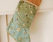 Embroidered Christmas Stocking, Green, Gold