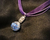 Shattered Blue Marble Owl Chain Charm on Purple Ribbon Necklace