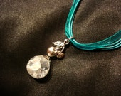 Shattered Cream Marble Cherry Chain Charm on Teal Ribbon Necklace