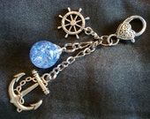 Nautical Fried Marble Anchor Rudder Love Charm Blue Keychain
