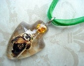 Resin Ewok Wicket Gold Rose Green Ribbon Necklace