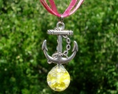 Anchor Yellow Fried Marble Charm Pink Ribbon Necklace