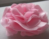 Pink Rose / Flower Satin and Organza Hair clip and Pin with Crystals / Wedding / Girl / Woman